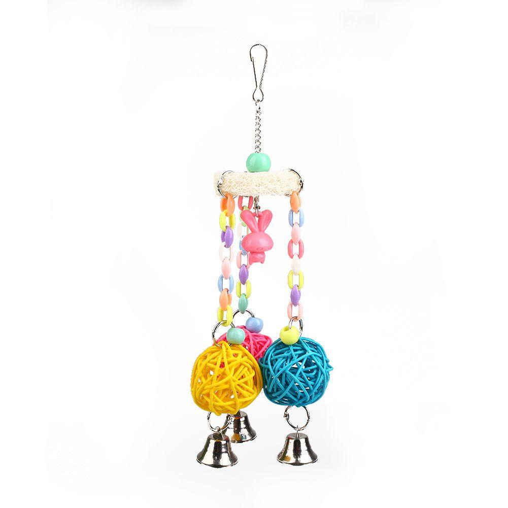 Mini Colorful Pet Bird Rattan Ball Toys Chewing Swing