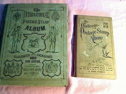 International postage stamp album 1899 with lots of old