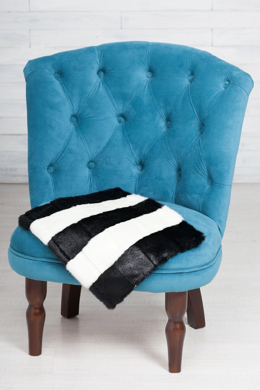 Faux fur chair pad by artfur mink black white etsy