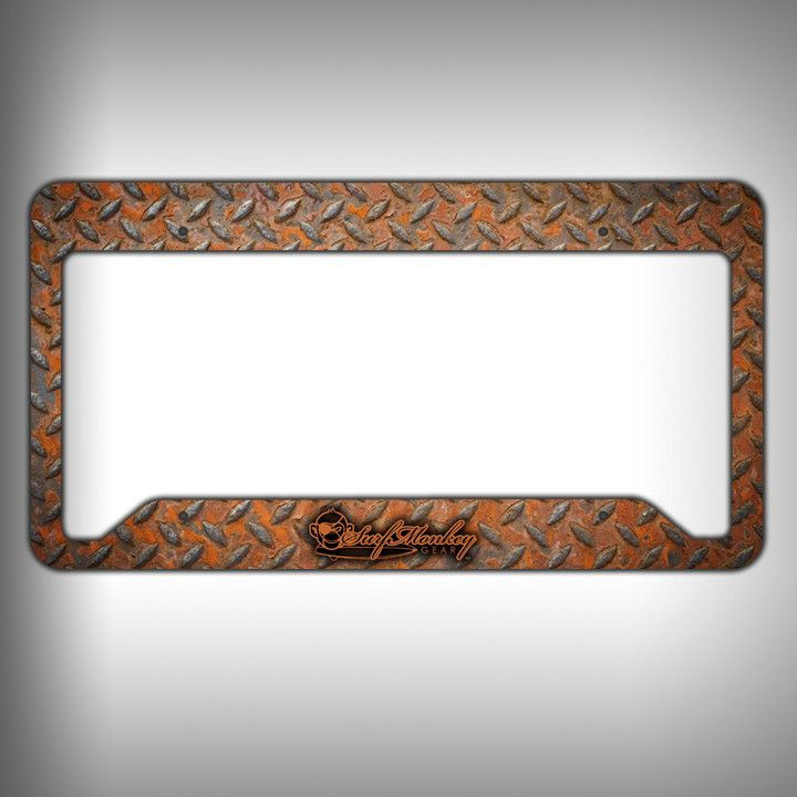 Rust Diamond Plate Custom Licence Plate Frame Holder Personalized ...