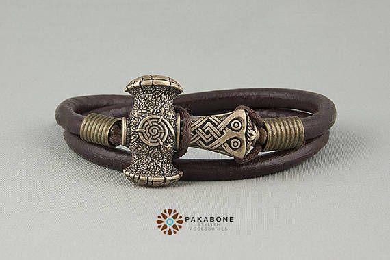 Bracelet Viking avec bracelet en cuir au marteau de Thor avec