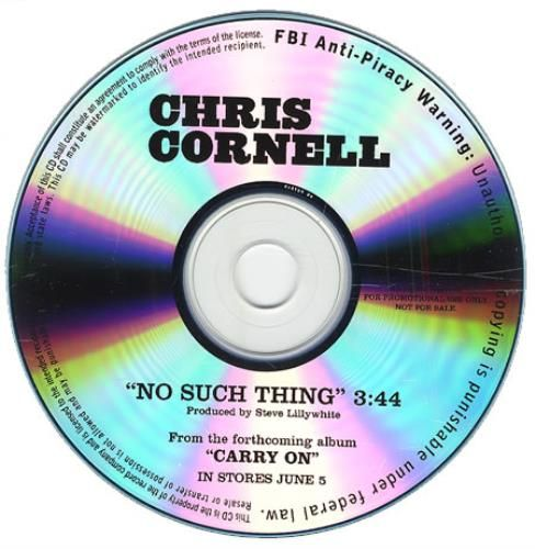 Chris Cornell No Such Thing 2007 USA CD album CD-R ACETATE: CHRIS CORNELL No Such Thing (2007 US Interscope 1-track promotional CD-R…
