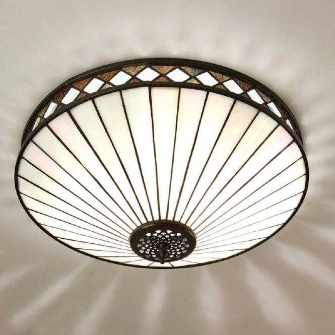 Tiffany Art Deco Flush Fitting Ceiling Light For Low