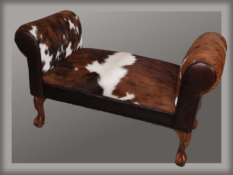 Cowhide Rolled Arm Bench Western Benches   Western Style Roll Arm Bench  Fits Well At The End Of A Bed Or In A Hallway And Makes A Great Accent  Piece.