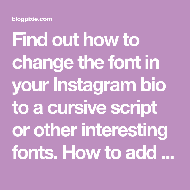 Fonts for instagram bio