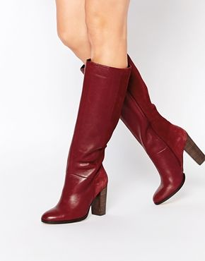 b358056fdf01a Faith Maybach Bordeaux Leather Knee Heeled Boots | shoes, shoes ...