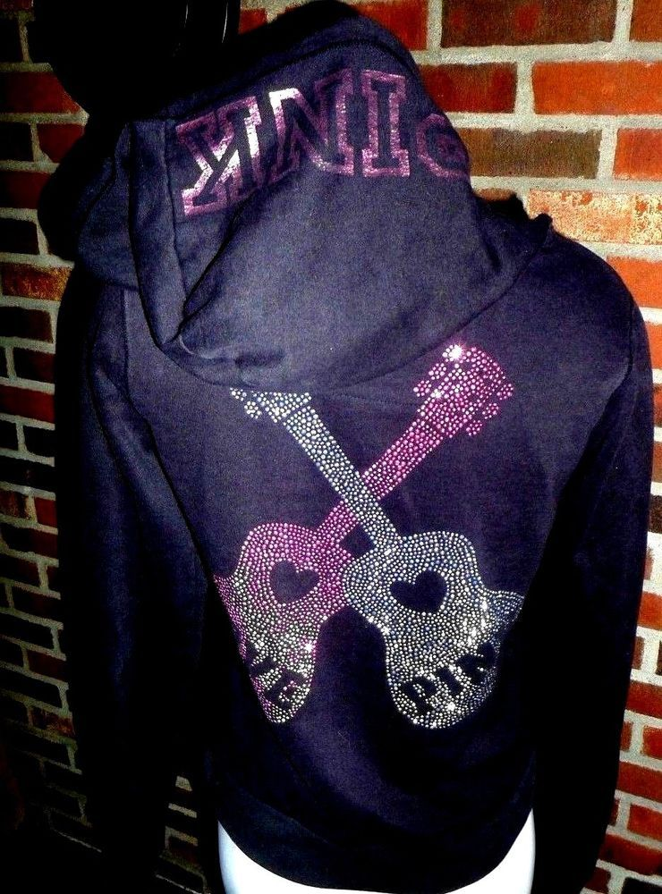 908adbfdcc9de PINK Victorias Secret Medium Hoodie Sequin Black LOVE PINK GUITARS ...
