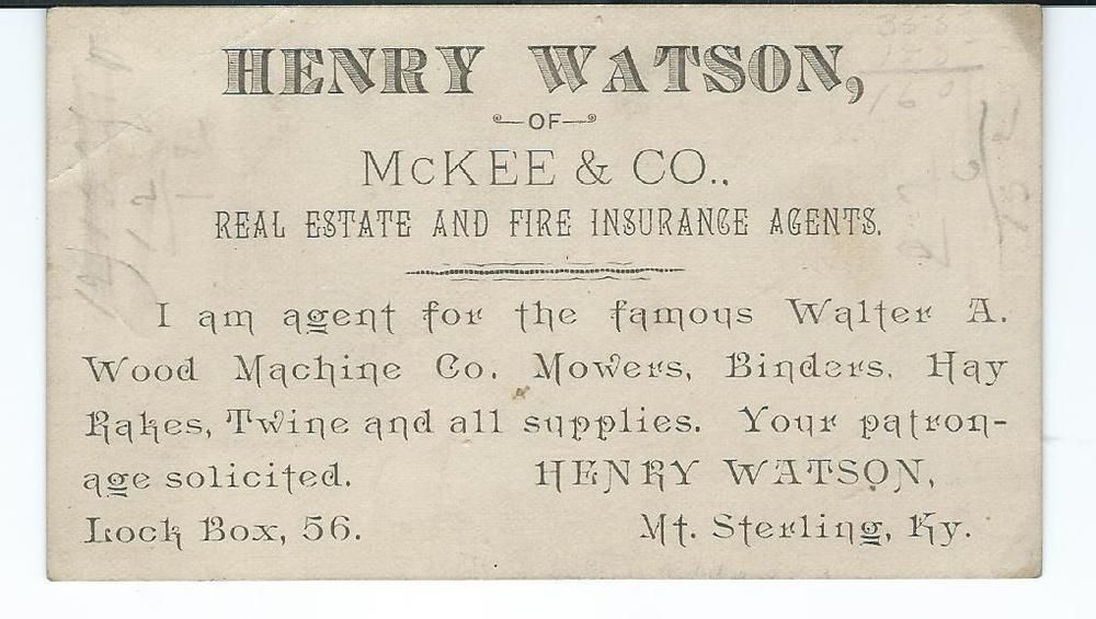 1800s Mt Sterling Ky Business Card Henry Watson Mckee Co