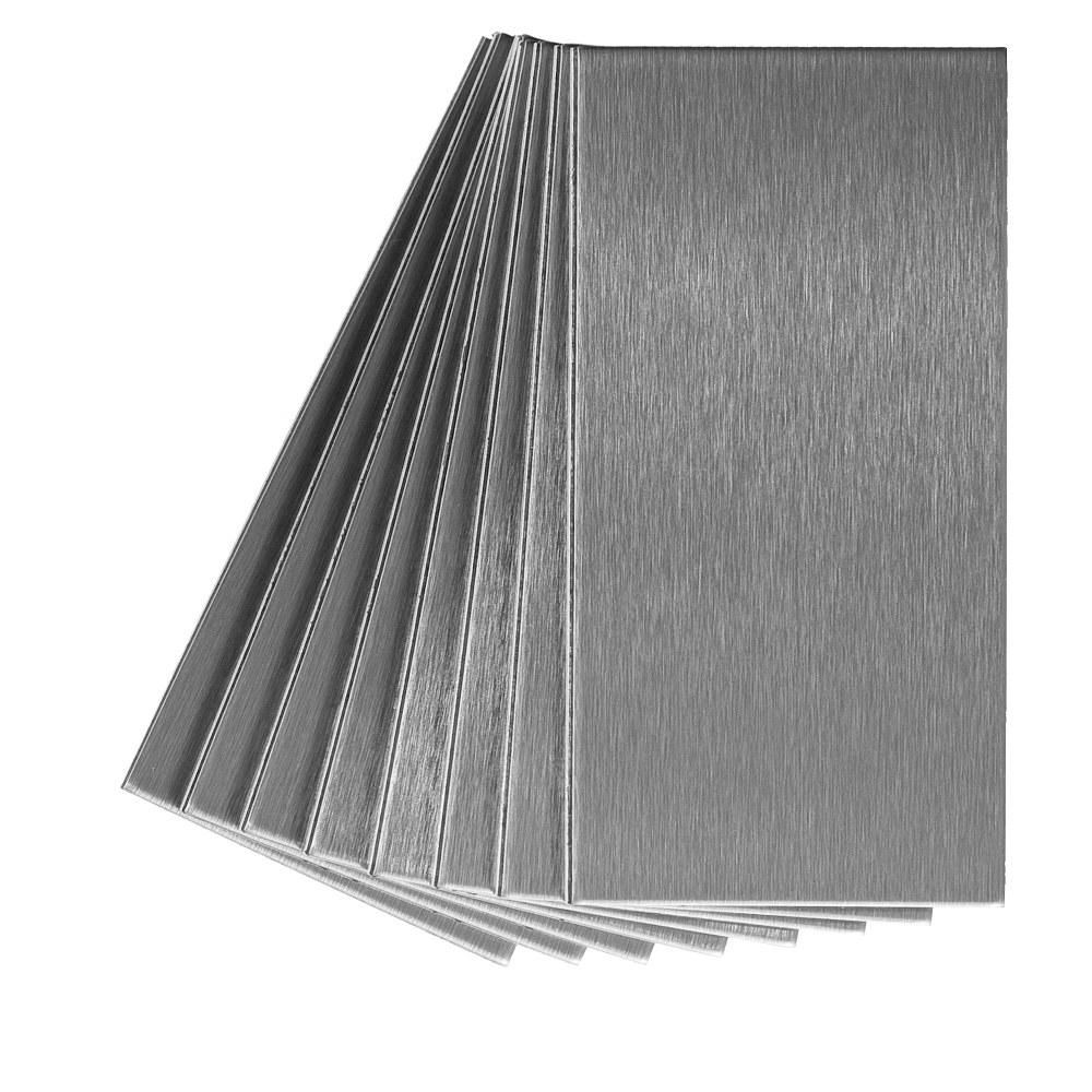 Metal Decorative Tiles Aspect Long Grain 6 Inx 3 Inbrushed Stainless Metal Decorative
