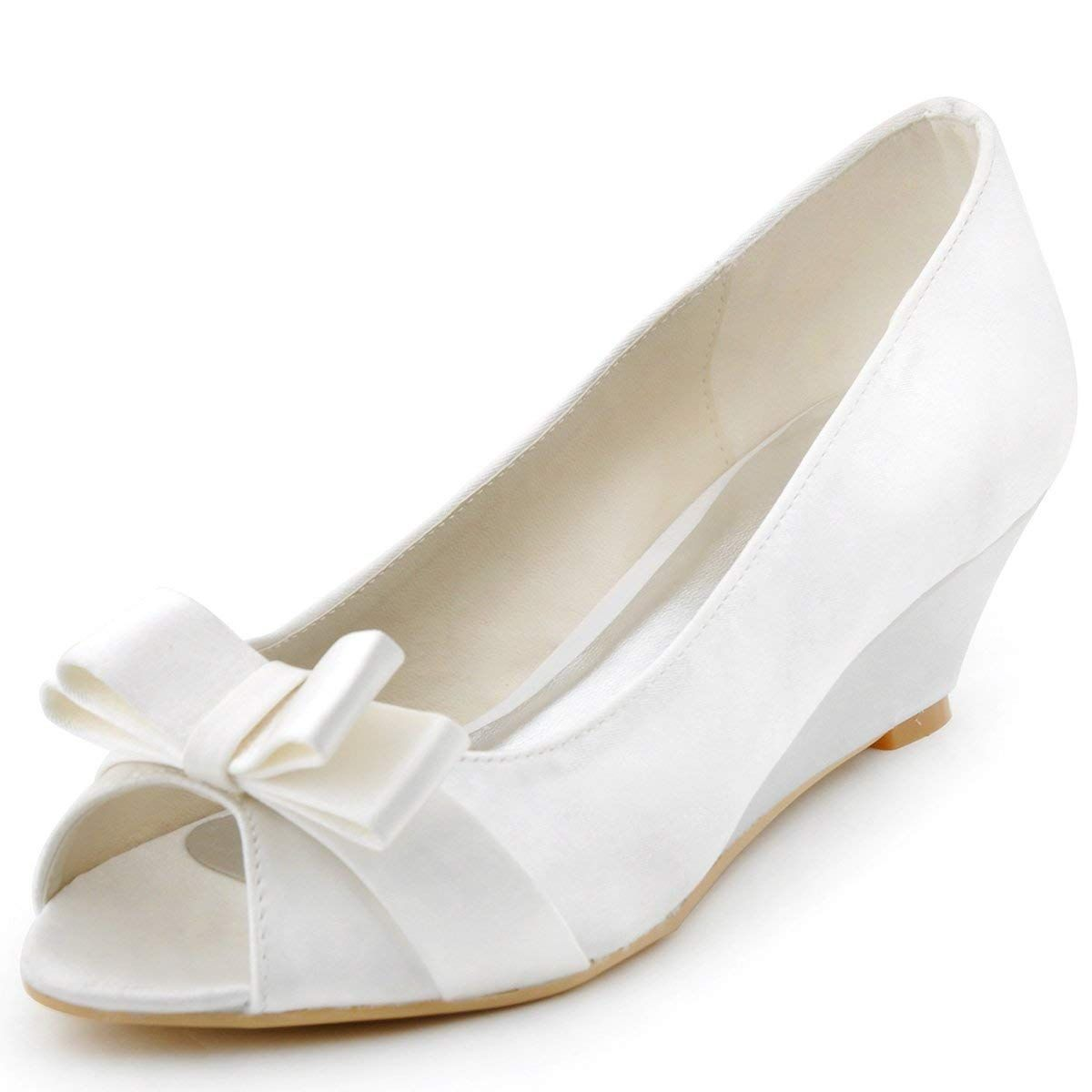 fe4cdd9c3242 ElegantPark Women Peep Toe Pumps Bows Mid Heel Wedges Satin Wedding Bridal  Shoes     Thank you for having seen our image. (This is our affiliate link)    ...