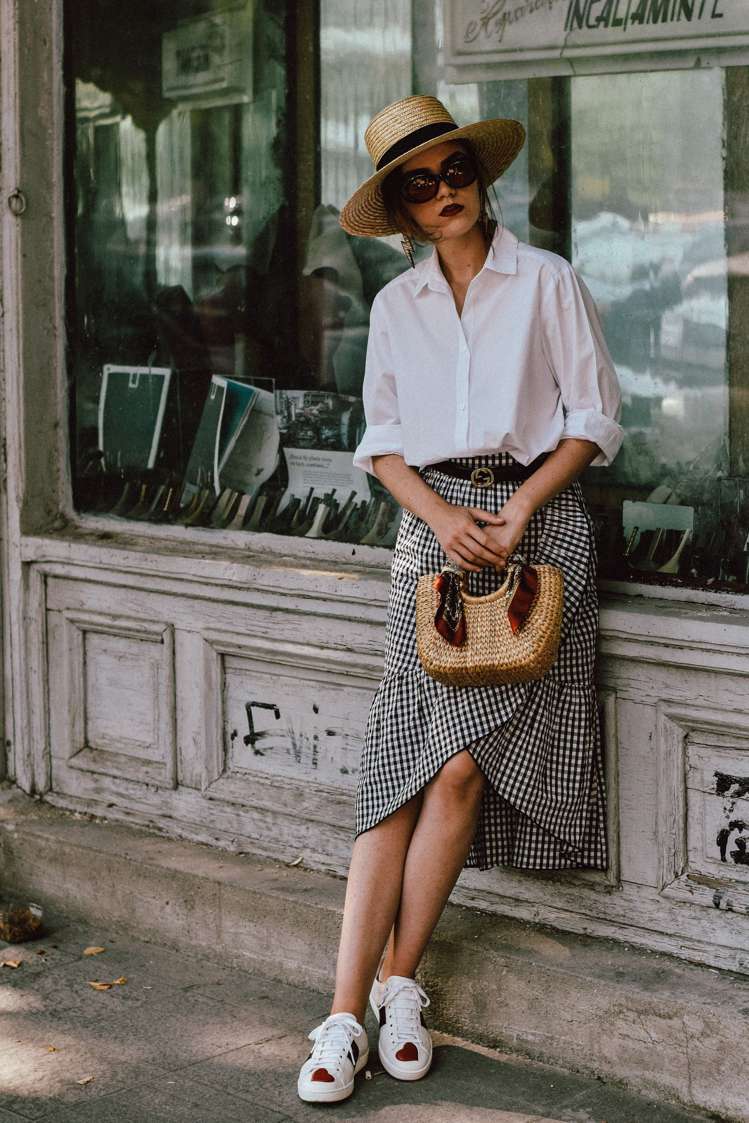 4c22b7f95 to wear a midi skirt from zara, the popular zara gingham skirt, where to  find the gingham skirt from instagram, asos oversized white shirt, topshop  oversize ...