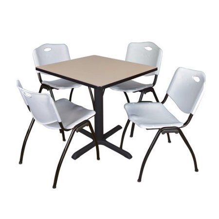 Cain 30 inch Beige Square Breakroom Table 4 'M' Stack Chairs, Multiple Colors, Gray