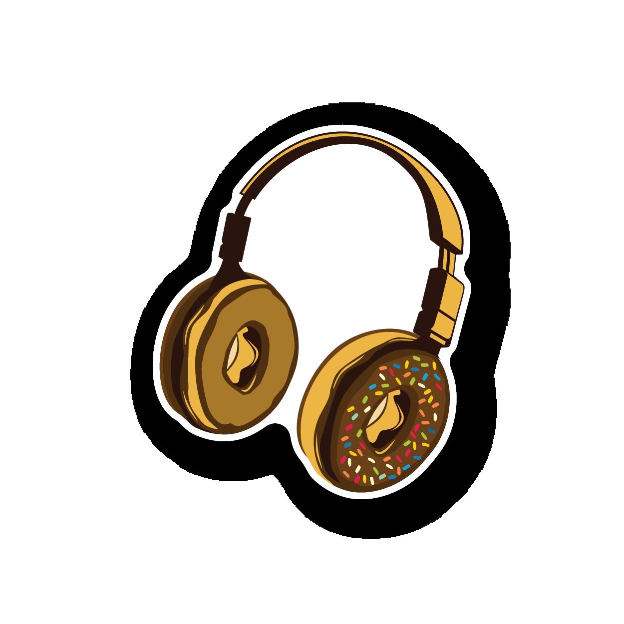 Mens Funny Hoodie Donut Headphones