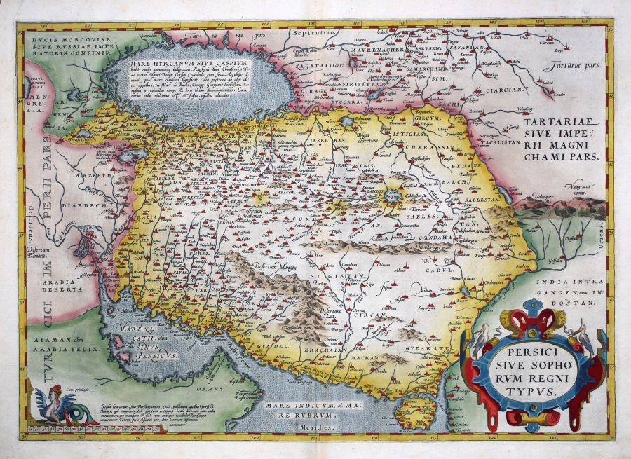 Persici sive Sophorum Regni typus  ORTELIUS  Abraham  Antwerp  1570     A fine map of Persia after Gastaldi s map of Asia Minor An interesting note  in the text on verso reads  this is