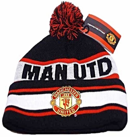Manchester United Black Red White MAN UTD Bobble Bronx Knitted Hat ... 8b8fd958044