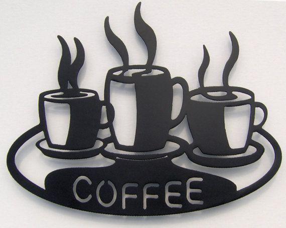 Metal Kitchen Wall Art coffee cups on platter metal wall art | more metal wall art, metal