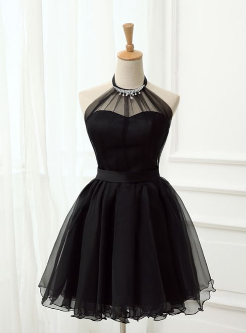 Cute Little Black Short Homecoming Dresses Halter Short Prom Dresses #shortblackhomecomingdresses