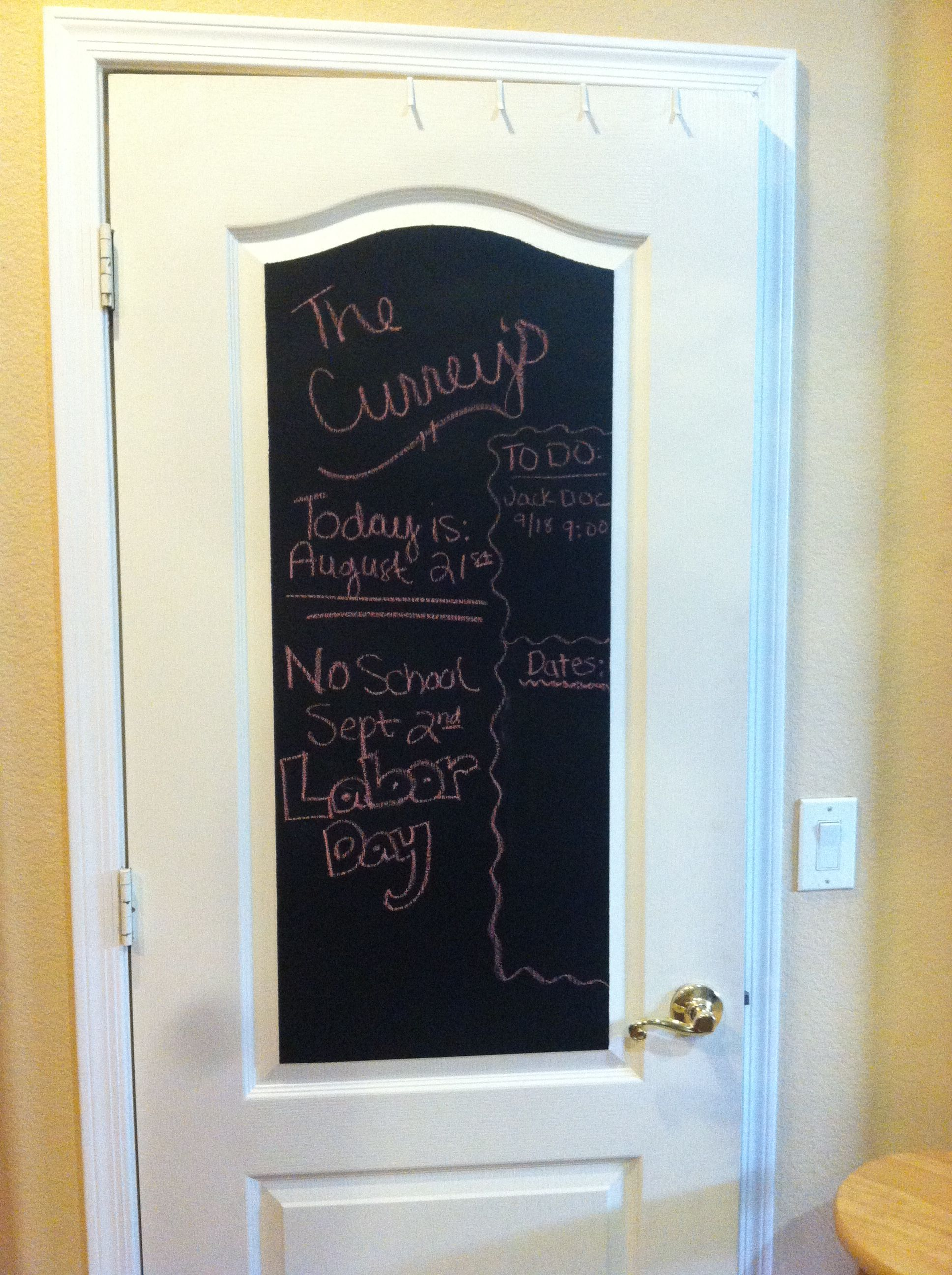 Super easy to do! Chalkboard paint on kitchen door =] I used Valspar brand paint and did 3 coats after sanding down the door.