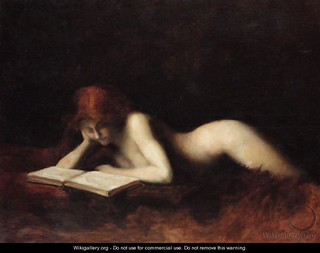 Reclining Nude Woman Reading A Book - Jean-Jacques Henner  Breathless  Pinterest -2426