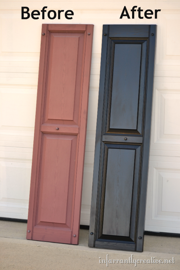 How To Paint Vinyl Shutters Infarrantly Creative Paint Vinyl Shutters Vinyl Shutters Painting Shutters