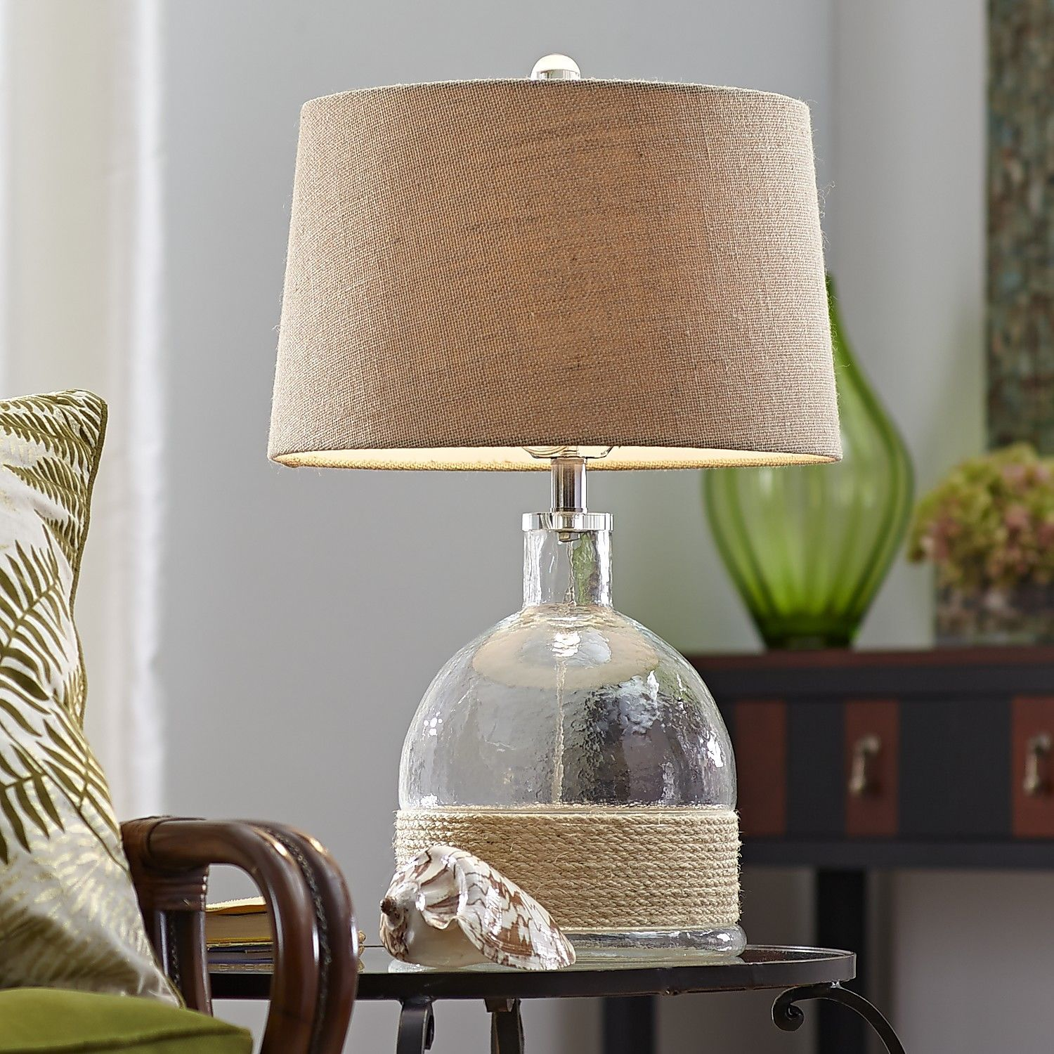 Pier One Table Lamps Endearing Rope & Glass Lamp  Pier 1 Imports  Beach House  Pinterest  Small Decorating Design