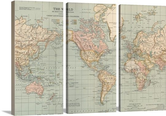 The world vintage map vintage maps framed prints and prints large vintage world map art from greatbigcanvas gumiabroncs Gallery