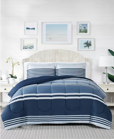 Pem America Cole Stripe 3 Pc Full Queen Comforter Mini Set Created For Macy S Reviews Bed In A Bag Bed In 2020 Bedding Stores Mattress Furniture Macys Bedding