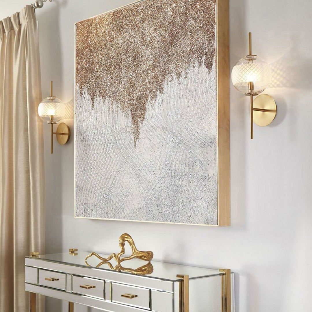 Large Shine Painting Gold Glitter Wall Art Living Room ...