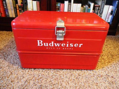 Vintage Galvanized Metal Budweiser Cooler Circa 1940s Great