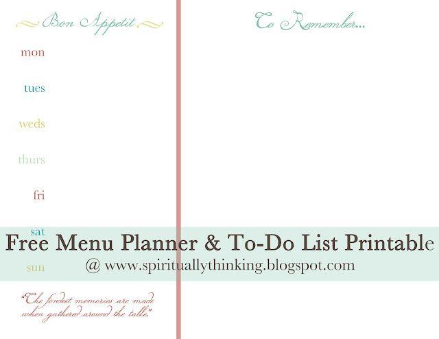 Free Menu Planner Printable Free printable Pinterest Menu
