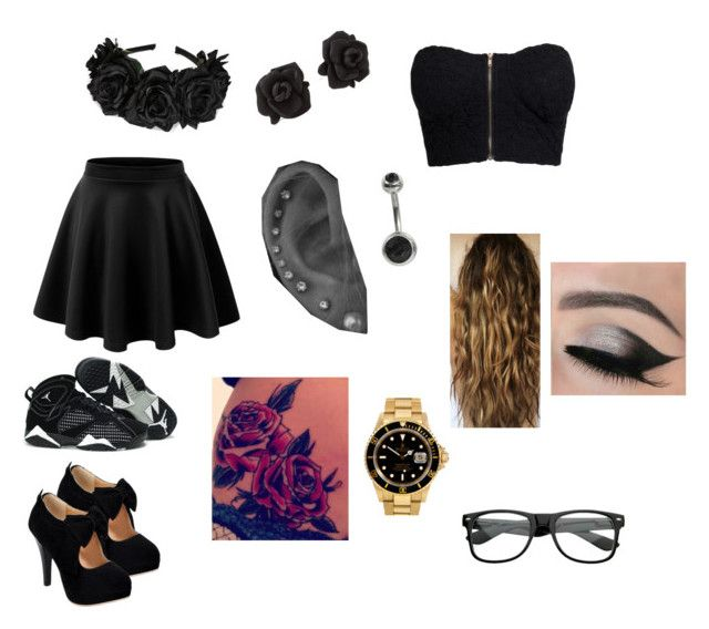 """""""Black"""" by brittbrat12805 ❤ liked on Polyvore featuring mode, LE3NO, NLY Trend, Marc by Marc Jacobs, Retrò et Rolex"""