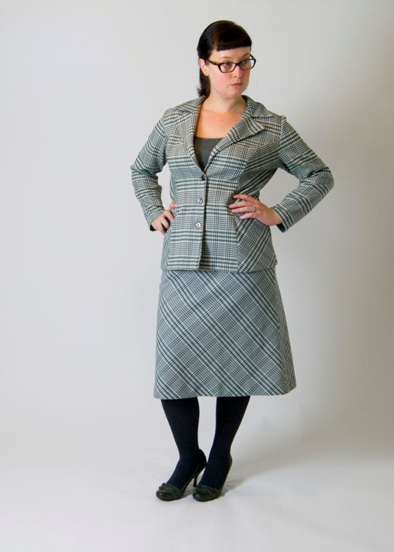 Vintage 1970s Women's Skirt and Jacket Set, Forest Green & White on Etsy, $35.00