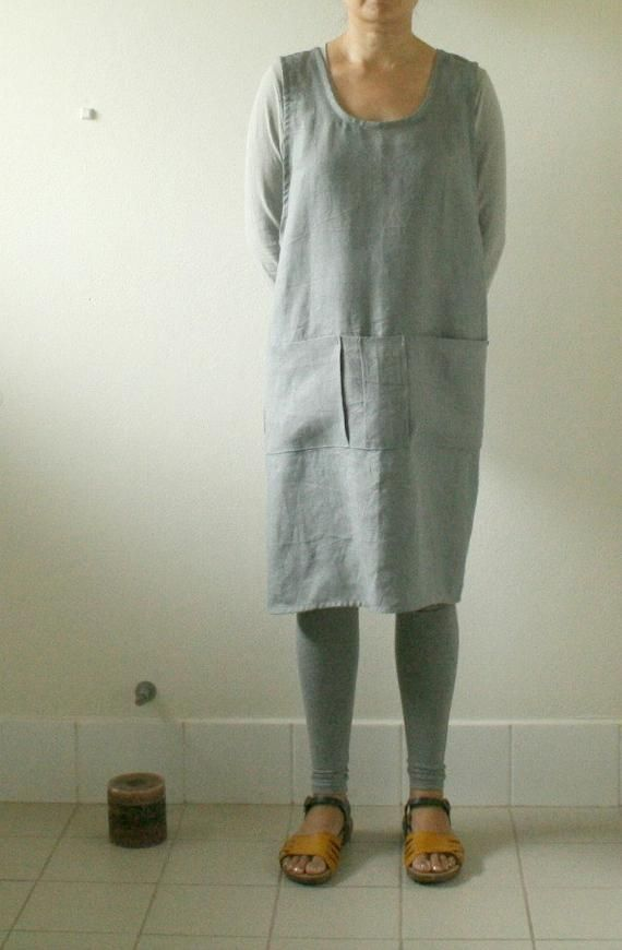 GREY LINEN PINAFORE / women / criss cross back / smock / linen tunic dress / artist smock / full apron / womens linen clothing / pamelatang #linentunic