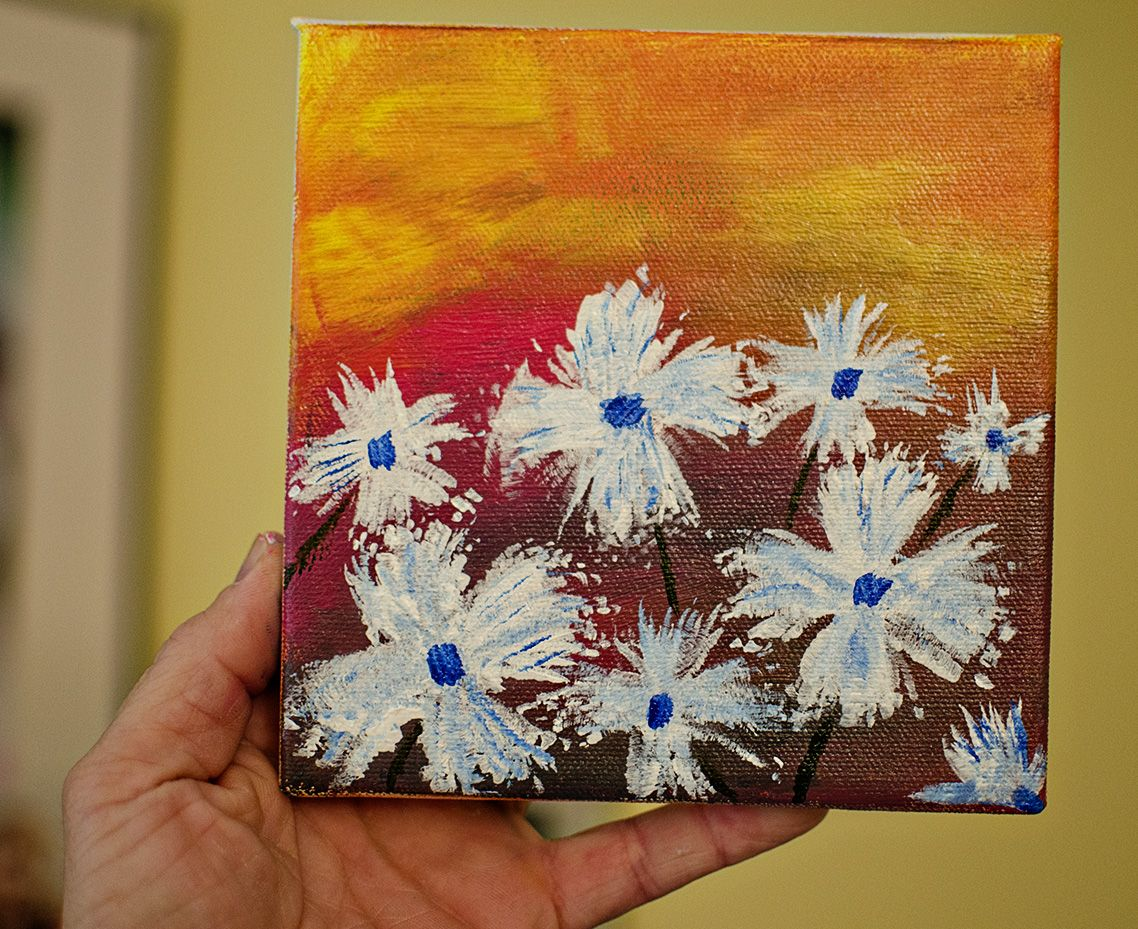 Today's painting. Flowers in acrylic. #acrylicpainting