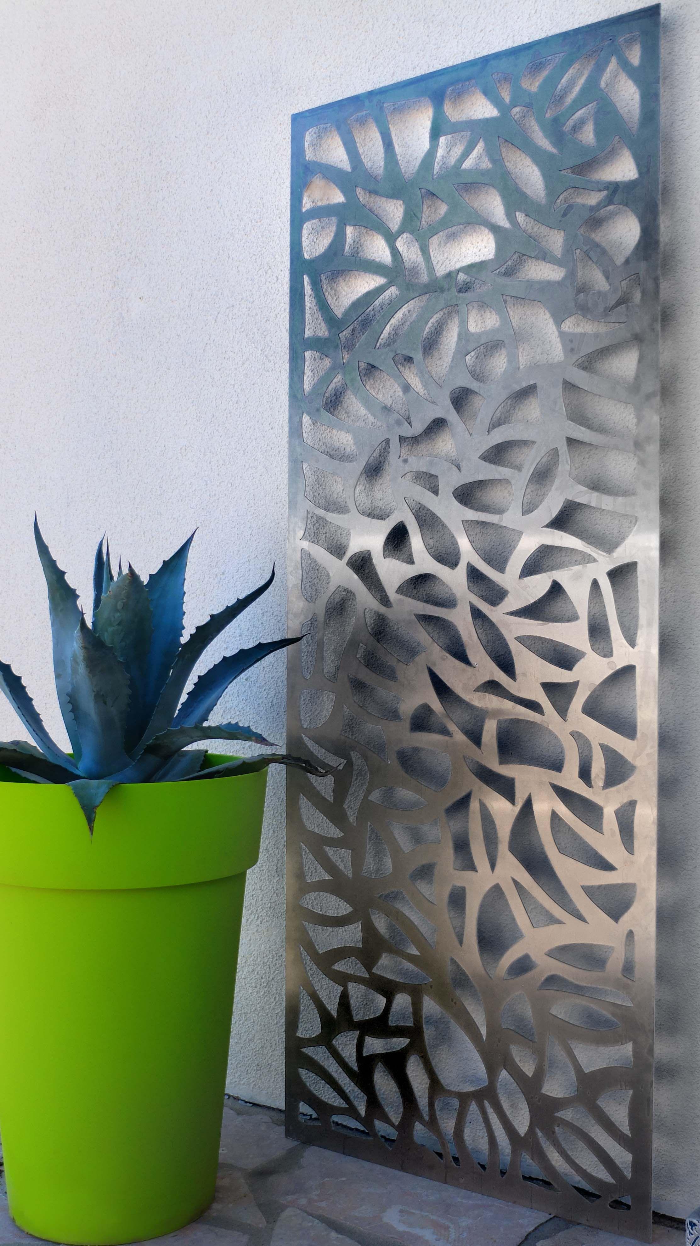 panneau d coratif ext rieur en m tal aluminium un tableau design pour votre jardin pour une. Black Bedroom Furniture Sets. Home Design Ideas