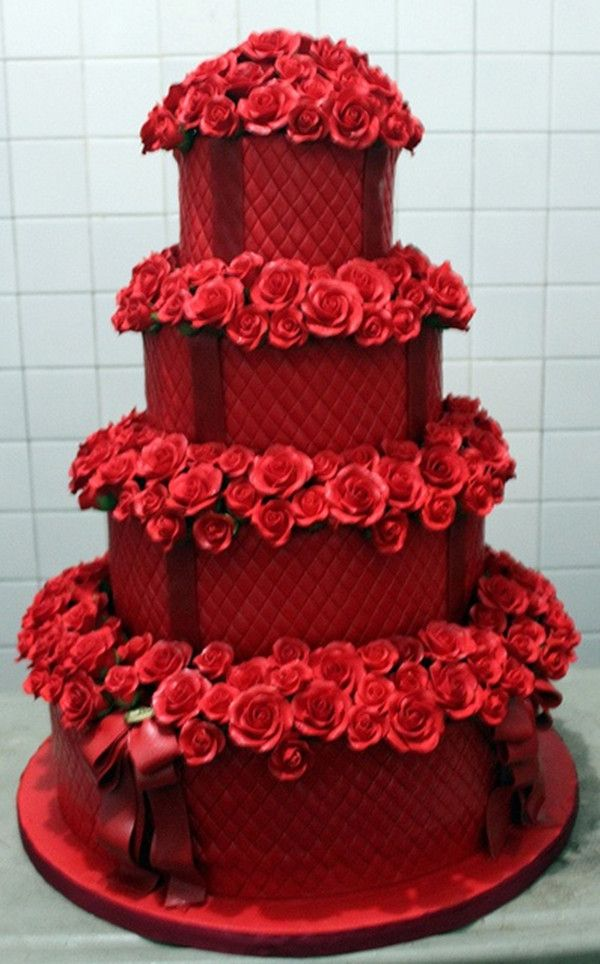 Red Wedding Cake With Tiffany Blue Roses Or