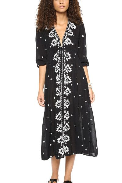 6a5b78ba54773 Black & White Embroidered Kaftan Midi Dress | Style and Trends in ...