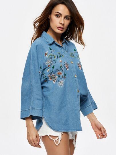 Velvet by Graham /& Spencer Womens Arabelle Floral Embroidered Shirt