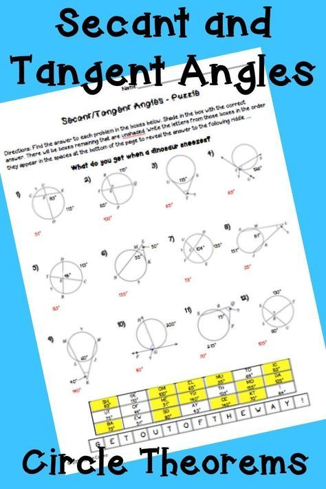 Geometry Circle Theorems: Secant and Tangent Angles - Puzzle ...