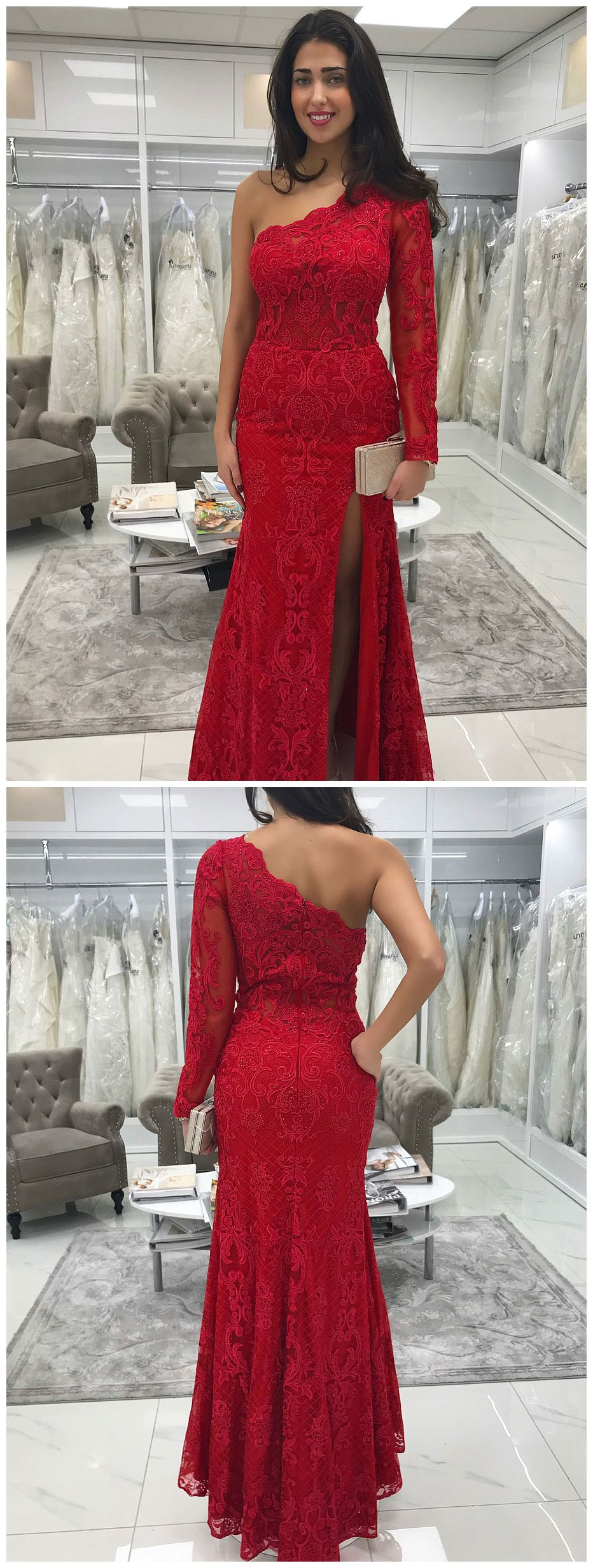 One shoulder long sleeve red lace mermaid prom dresses with slit