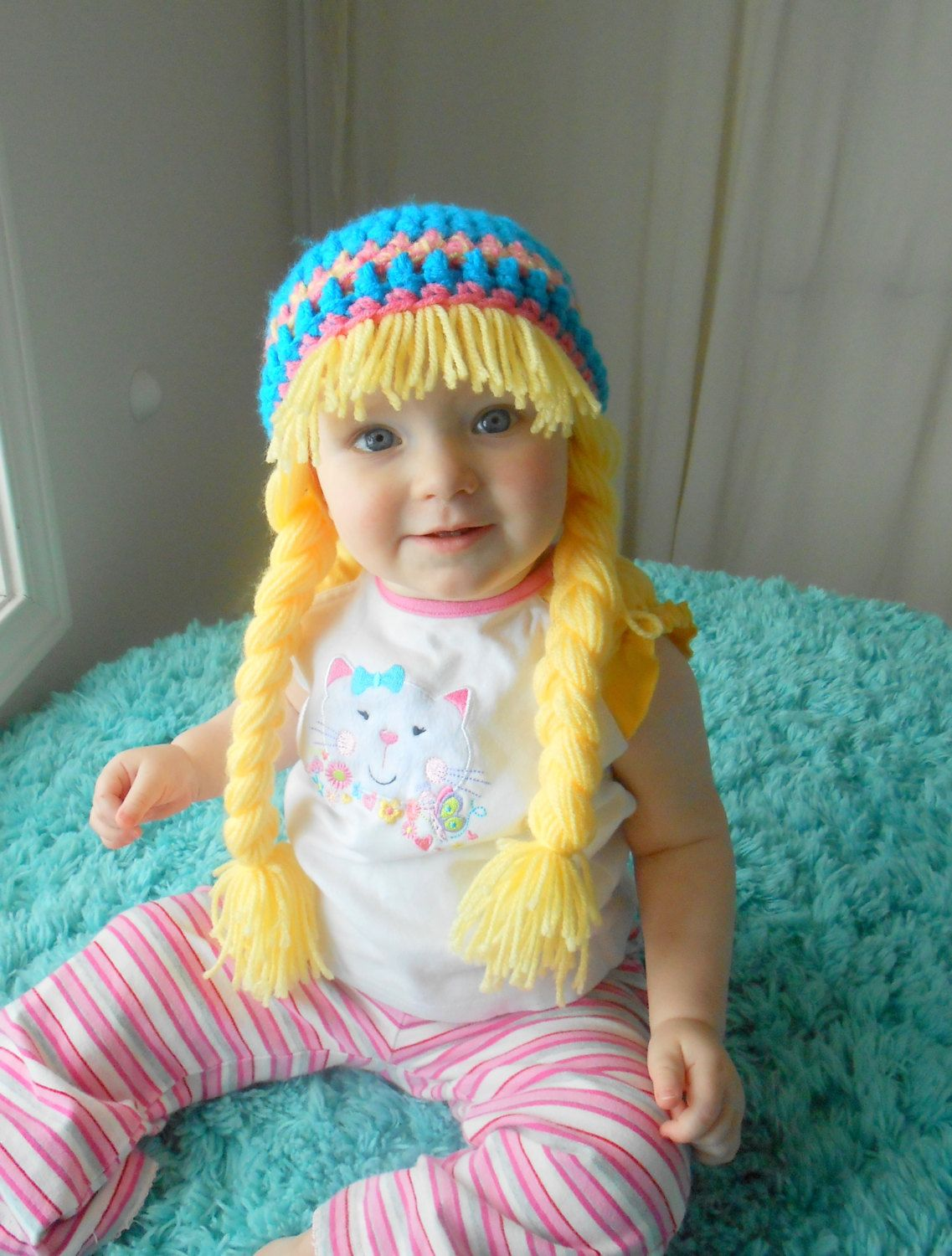 Baby Girl Hat Earflaps Hippie Beanie with Pigtails Blue Yellow Pink ...