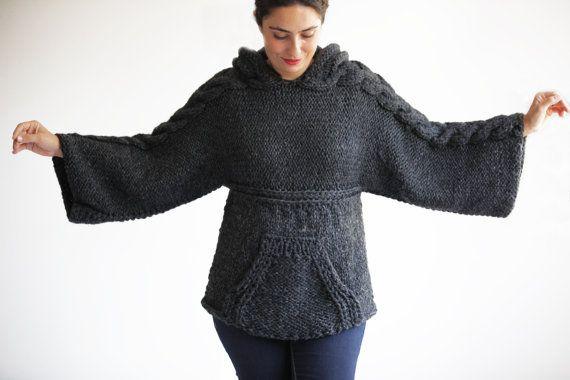 Tallas grandes para hacer punto jersey con capucha por Afra