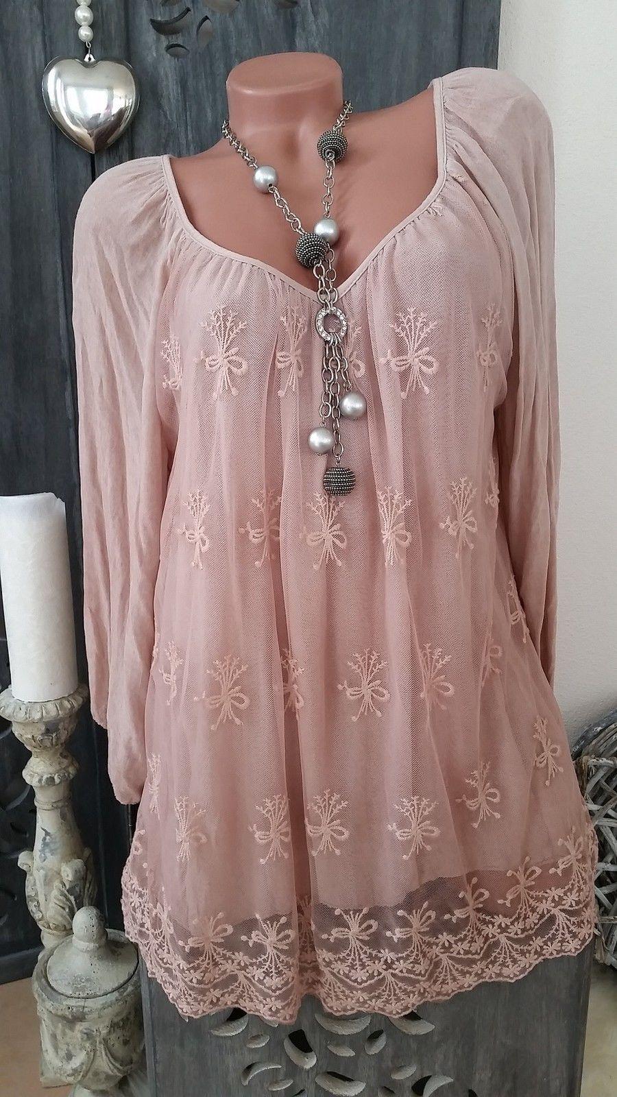 Tunika Kleid Hakelspitze Lagenlook Stickerei Beige Creme Neu Italy 42 44 46 Tunika Kleid Tunika Kleider