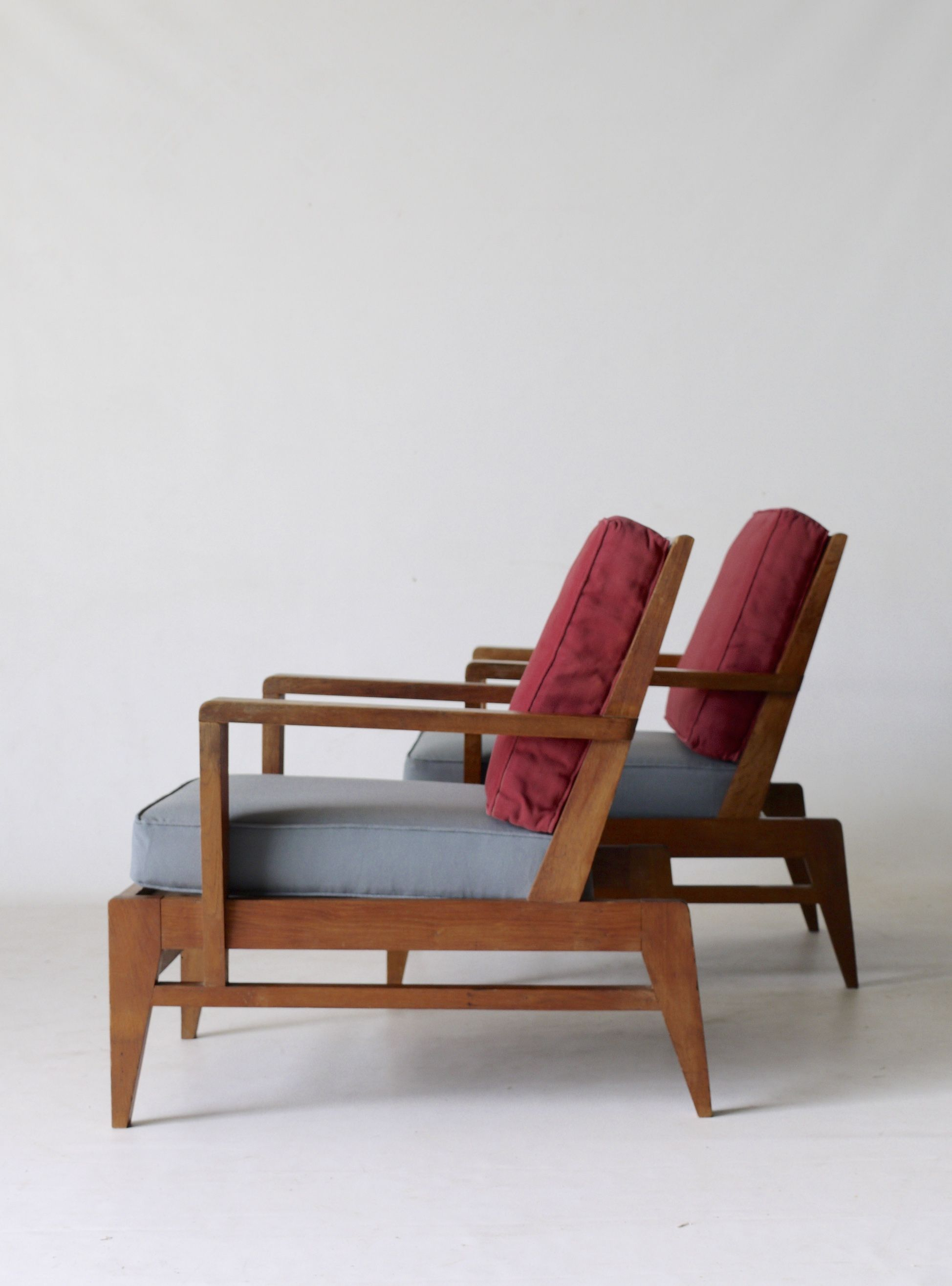 Rene gabriel french modernist oak armchairs 1940s 50s french designers french oak