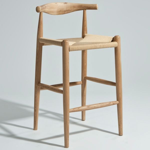 Hans Wegner Elbow Bar Stool Natural American Ash Counter