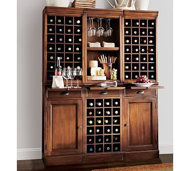 Something like this for wine storage as a build in across from wet bar? PB furniture