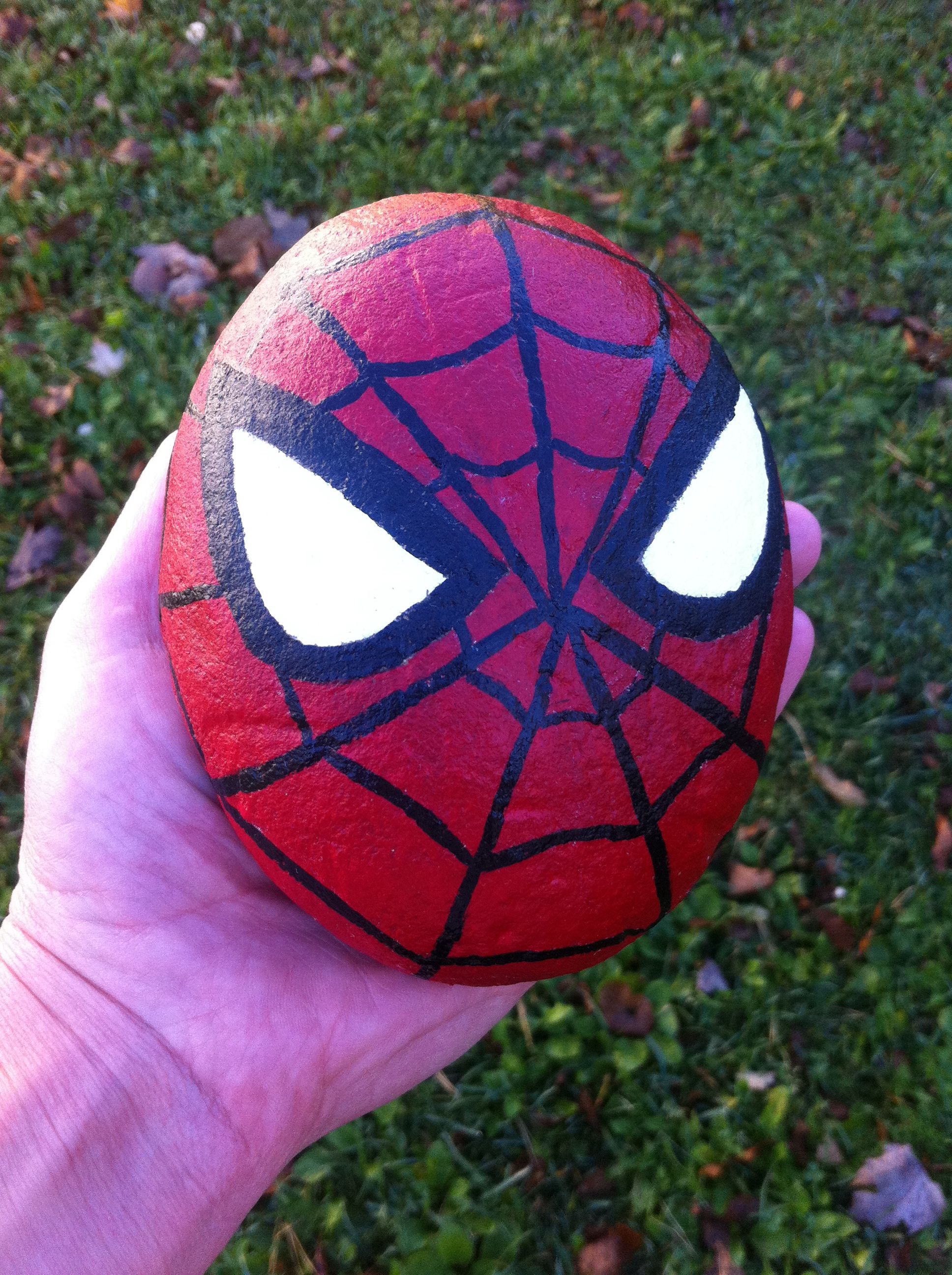Spider Man Painted Rock Rock Painting Designs Painted Rocks