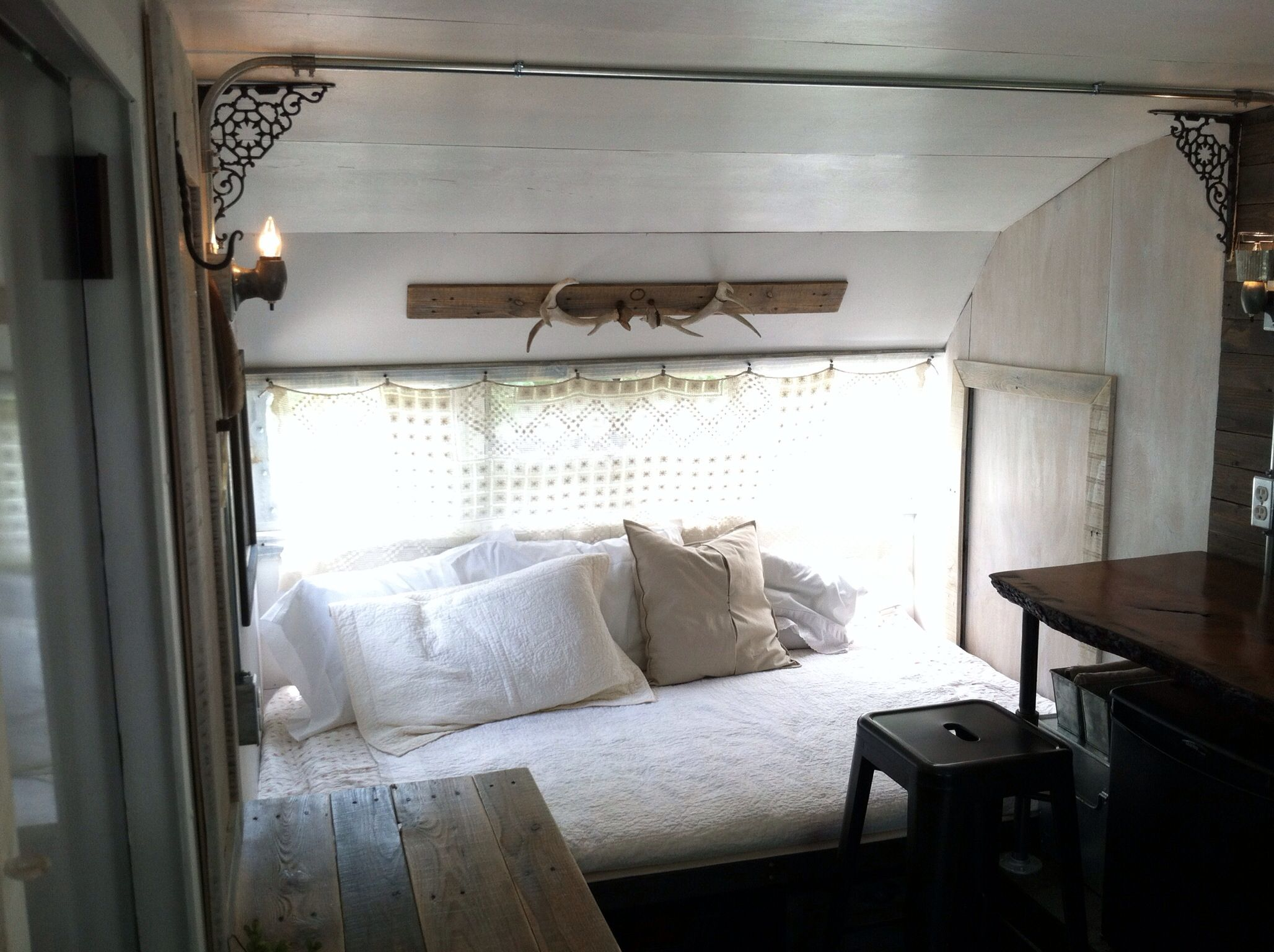 Vintage camper interior renovation rustic industrial chic