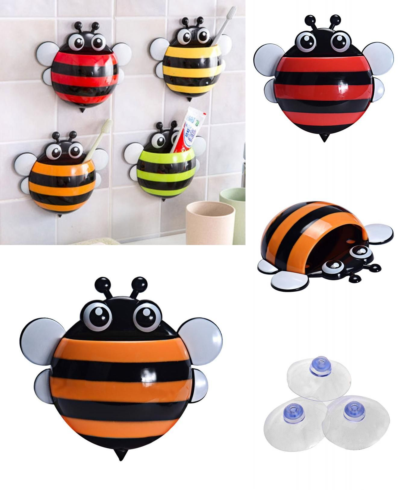 Visit To Buy Super Deal Toothbrush Holder Set Family Wall Bee Mount Rack Bath Bathroom Accessories Banheiro