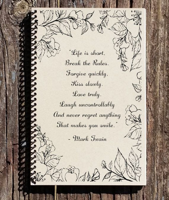 Mark Twain Notebook - Mark Twain Quote - Life Is Short Quote - Motivational Quote - Notebook - Journal - Kraft Notebook - Inspirational Gift